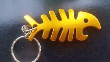 GLD FISH BONE Aluminum Bottle opener Keychain Key Chain Fishing lightweight Gift