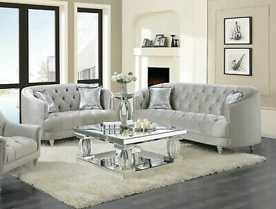 Curvy Grey Velvet Rhinestone Crystal, Tufted Living Room Furniture