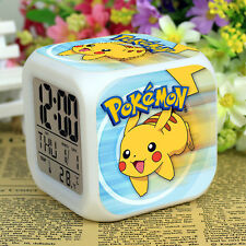Anime Pokemon LED Digital Alarm Clock 7 Colors Change Calendar+Time+ Thermometer