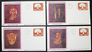 Treasures-of-Tutankhamen-US-Postage-Set-of-4-Covers-GS-FDC-USA-Letters-H-8343