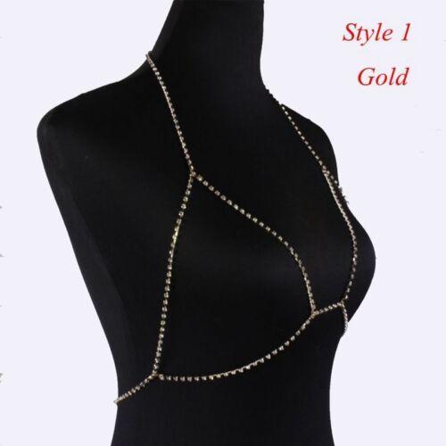 Fashion Women Shiny Crystal Rhinestone Bra Chest Body Chain Bikini Jewelry