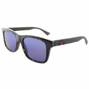 f9b35b1a7d7 New Authentic Gucci GG0008S 003 Dark Havana Plastic Sunglasses Blue ...