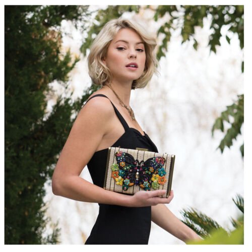 Mary Frances Butterfly Fantasy Embellished 3-D Butterfly Bag Handbag Purse New