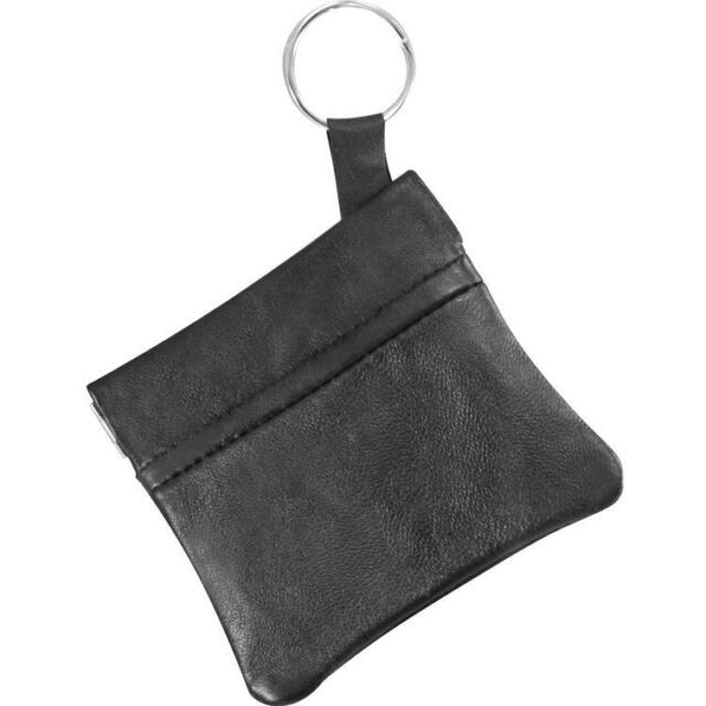 2x Black Leather Men's Coin Purse Squeeze Open Small Change Money Key Ring