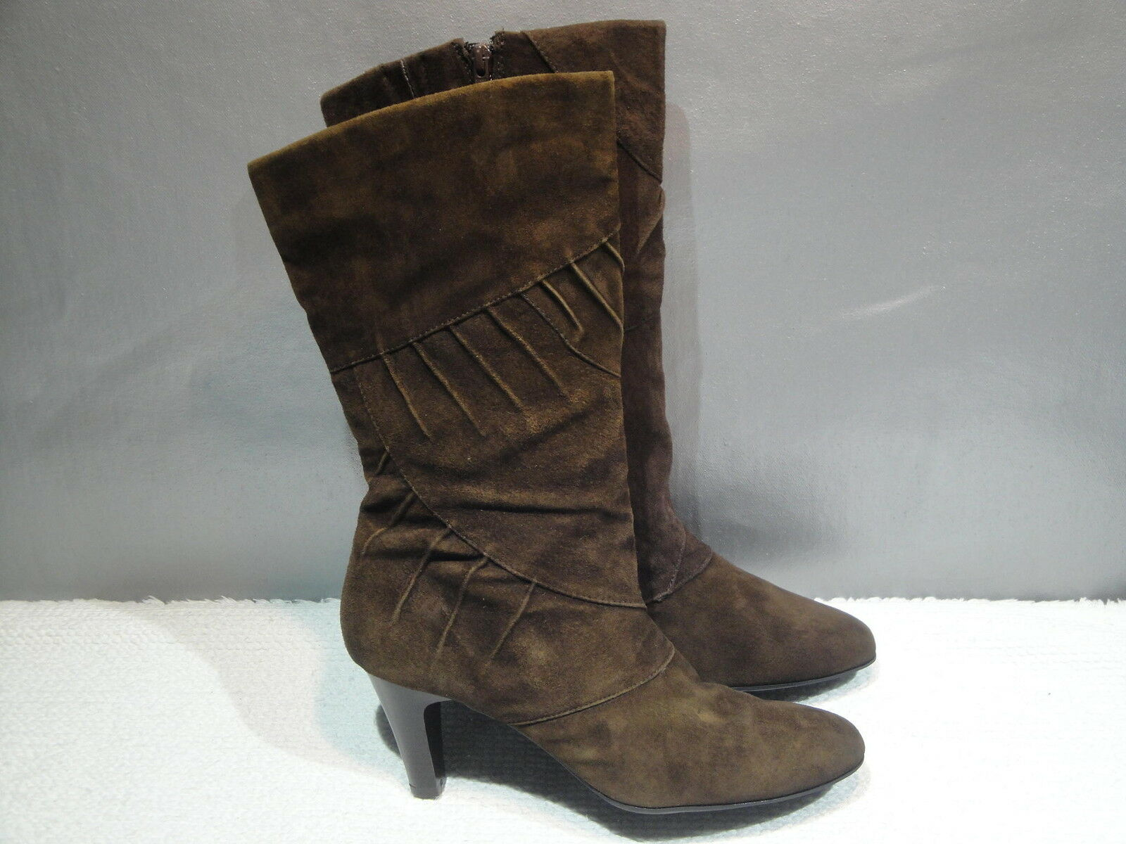 WOMENS 8.5 M WHITE MOUNTAIN BROWN LEATHER TALL HEELS ZIPPER BOOTS