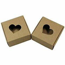 20pcs Brown Kraft Paper Box With Heart Shaped Window Gift Craft Candy Chocolate