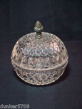 6 INCH HIGH CUT GLASS BOWL WITH LID - HAS METAL ACORN SHAPED KNOB ON THE LID