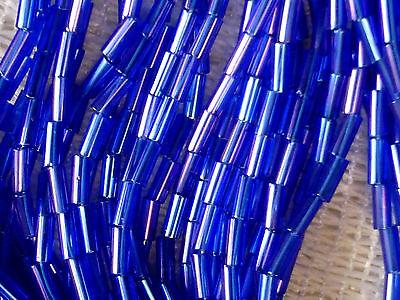 VTG 1 HANK GARNET LUSTER BUGLE BEADS SIZE 2 GLASS #090510e