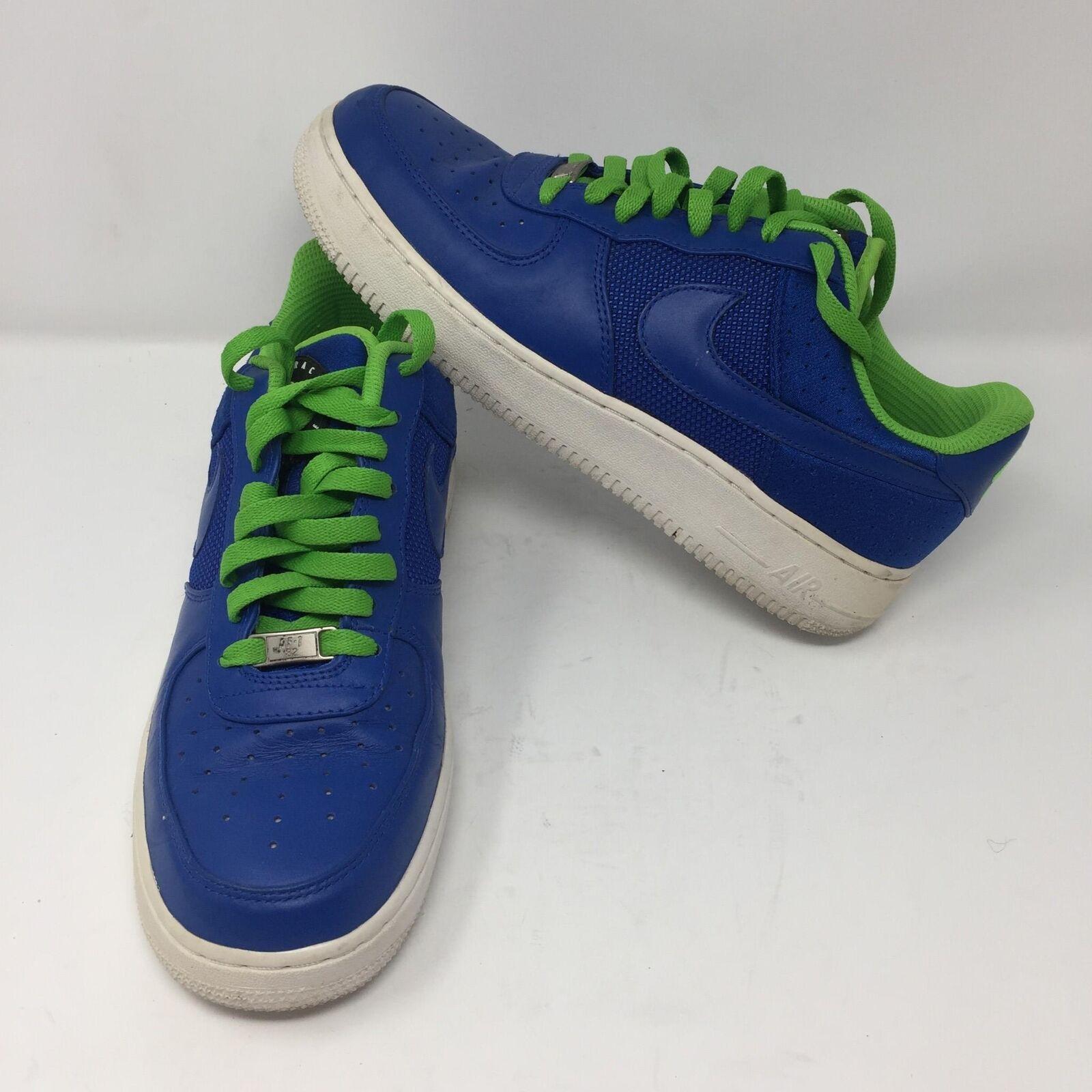 brand new cc7f3 5ca7b Nike Nike Nike Air Force 1 Canvas bluee Neon Green Mens shoes Sz 9 354716-