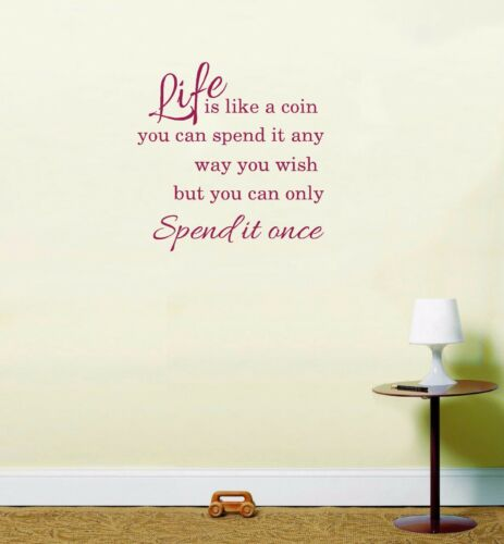 Life is like a coin Life quote inspirational sticker vinyl decal wall art