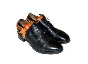 Acne-Studios-Manson-Stud-Harness-Strap-Black-Calf-Leather-Mens-Derby-Shoes-EU-41
