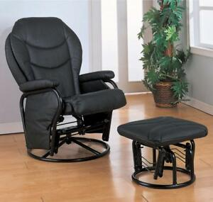 Black Leatherette Rocker Glider Recliner And Ottoman By