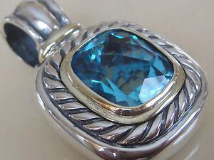 Discipliné $1600 David Yurman 14k, Sterling Silver Extra Large Albion Blue Topaz Enhancer-afficher Le Titre D'origine Promouvoir La Santé Et GuéRir Les Maladies