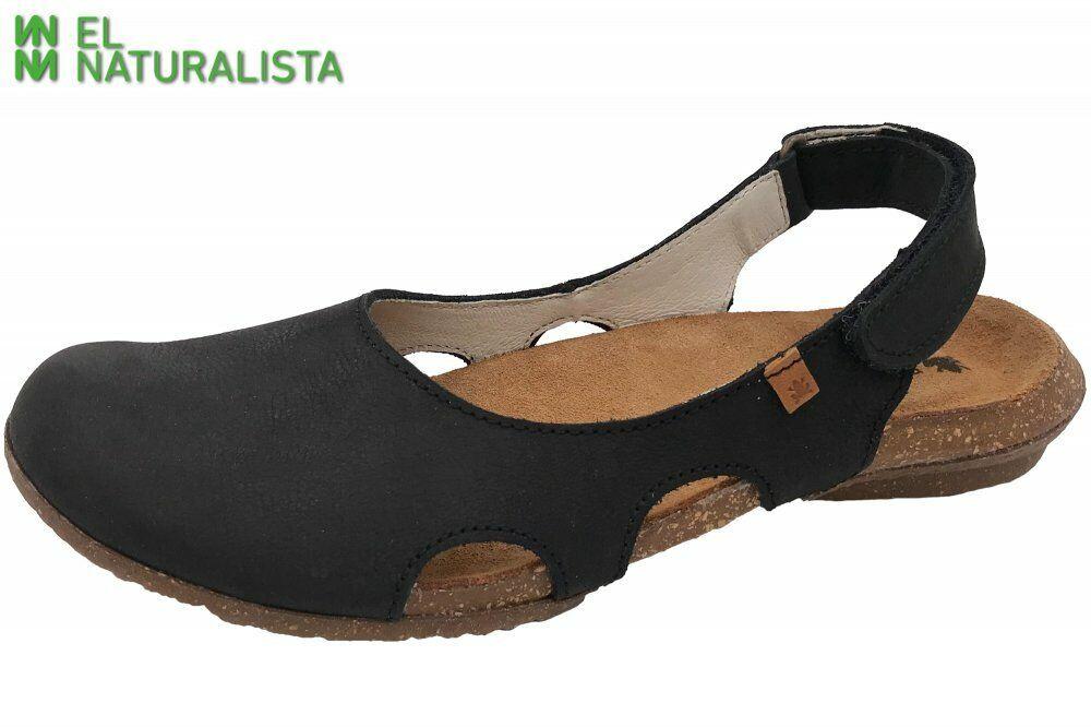 El Naturalista WAKATAUA Damen Sandale Schwarz Schuhe Leder N413-LP-schwarz