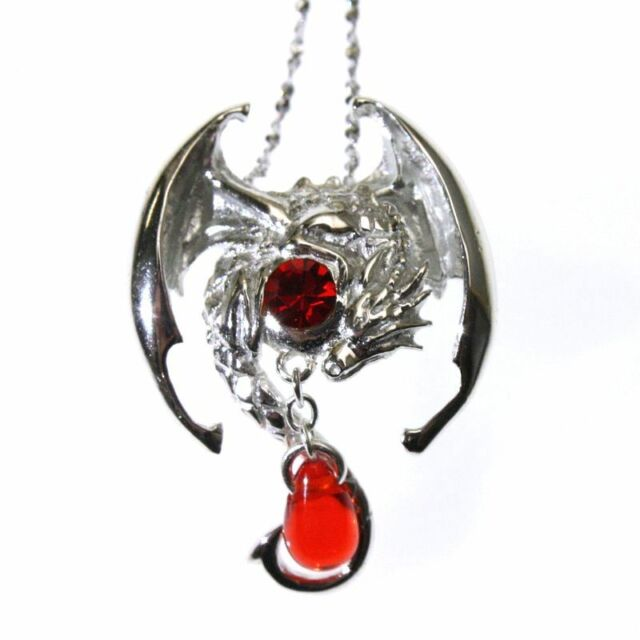 alloy wholesale zinc s silver new featured crystal bronze fliying dragon lighting men pendant luminous antique necklace red retro australia