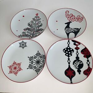 Noble-Excellence-Contempo-Christmas-Appetizer-Plates-Set-of-4-Red-Trim