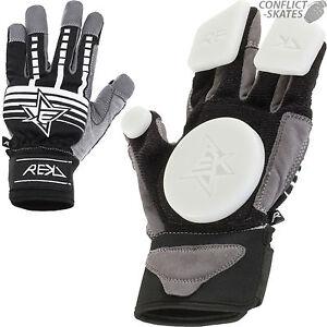 REKD-Slide-Gloves-Skateboard-Longboard-BLACK-Downhill-Freeride-Race-Protection