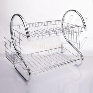 Kitchen Dish Cup Drying Rack Holder Sink Drainer 2-Tier Dryer Stainless Steel
