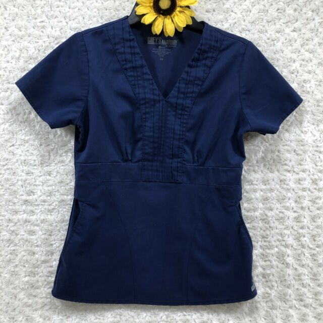 Grey's Anatomy Womens Scrub Top Size XS Nurse CNA Medical Blue bs4262
