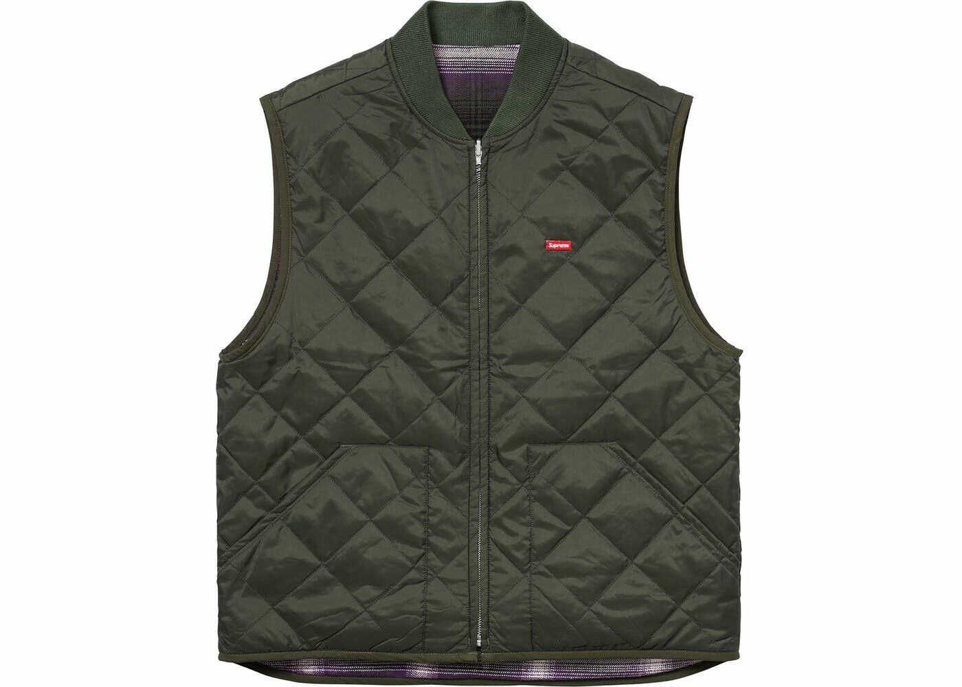 FW17 Supreme Reversible Shadow Plaid Vest Dark Green Size Medium DSWT