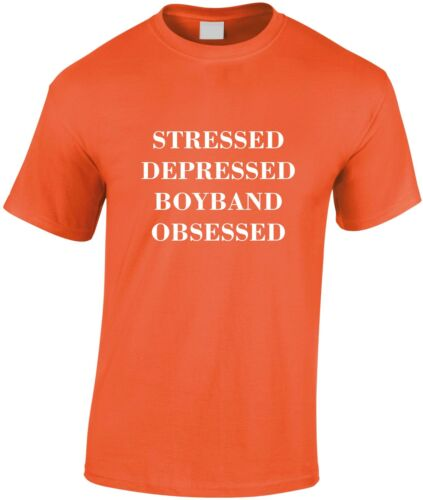 Stressed Depressed Boy Band Obsessed Children/'s T-shirt Kid/'s Music Cool Funny