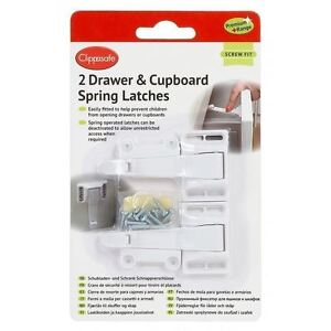 PREMIUM-2-DRAWER-amp-CUPBOARD-SPRING-LATCHES-LOCKS-KIDS-BABY-EASY-FITTING