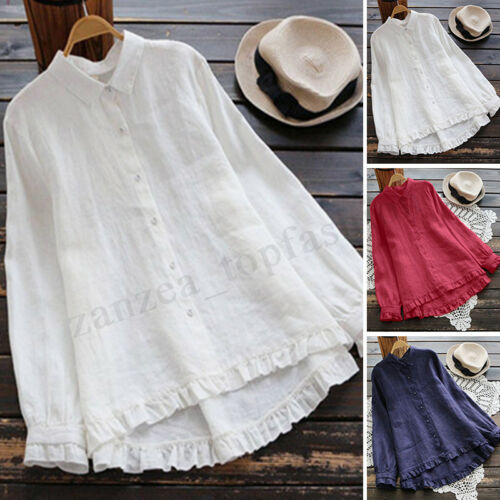 Women Long Ruffles Sleeve Casual Shirt Tops Loose Pleated Hem Button Blouse Plus