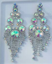 Iridescent chandelier silver tone Clip on earrings drag queen beauty pageant