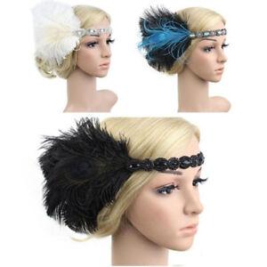 Fashion-Women-<wbr/>Head-Piece-Hai<wbr/>r-band-Feather<wbr/>-Party-Bridal-<wbr/>Feather-Headba<wbr/>nd-1920s