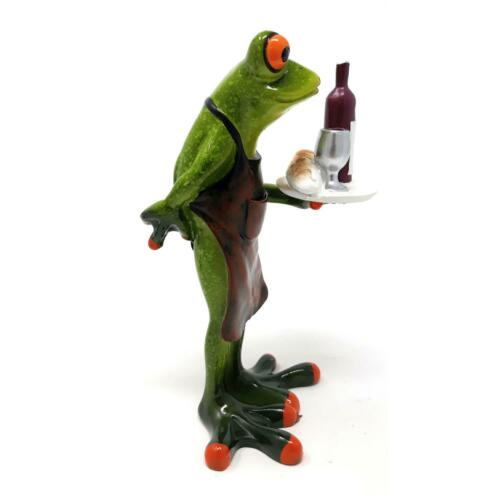 Dekofigur Grenouille comme serveur avec plateau H 15,5 cm vert clair d/'Art Formano grenouille est habité