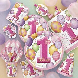 1 Kindergeburtstag Baby Party Deko 1 Geburtstag Madchen Rosa Set