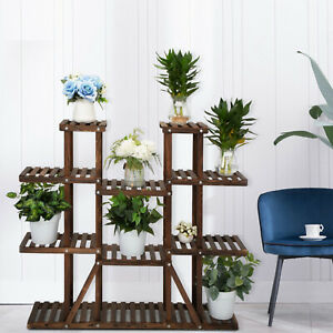 Wooden-9-Tier-Wooden-Plant-Stand-Shelf-Carbonized-Flower-Pot-Holder-Display