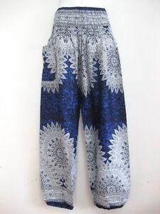 Ladies-Harem-Pants-Baggy-Bohemian-Boho-Hippie-Aladdin-Yoga-Genie-Trousers-Unisex