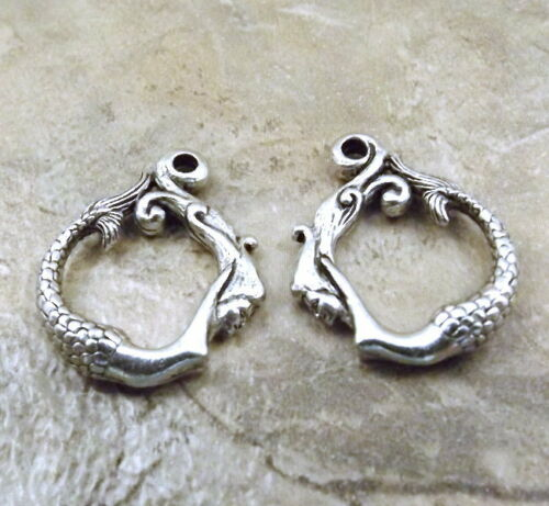 3 Sets of Pewter Mermaid /& Waves Toggle Clasps 5156