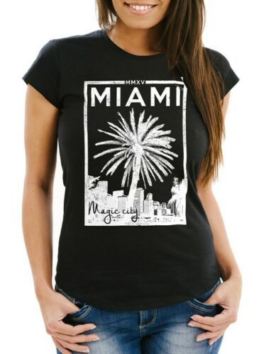 Damen T-Shirt Miami Beach Palmen Skyline Slim Fit Neverless®