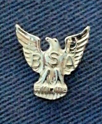 BSA EAGLE STERLING SILVER LAPEL PIN 16mm X 16mm SPIN WHEEL LOCKING CLASP A00299
