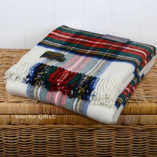 Pure New Wool CREAM TARTAN CHECK Blanket Throw picnic RUG BRITISH Quality Plaid