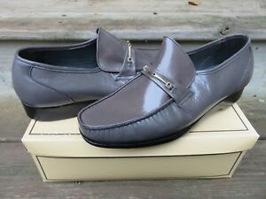 NEW-Hanover-Slip-on-Loafer-Dress-Shoes-Grey-Size-10-W-New-Old-Stock