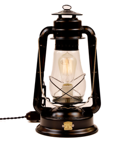 Dietz Lantern Converted Electric Lamp Edison Light Bulb With Dimmer Red