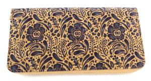 Handmade Natural Cork Women/'s Wallets Vegan Zipper Blue Flower Print