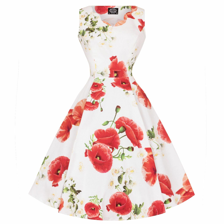 Hearts Roses London Weiß rot Poppy Print Vintage Retro ...