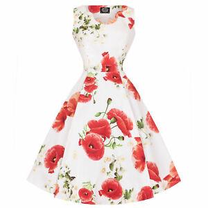 Hearts-amp-Roses-London-White-Red-Poppy-Print-Vintage-Retro-1950s-Flared-Sun-Dress