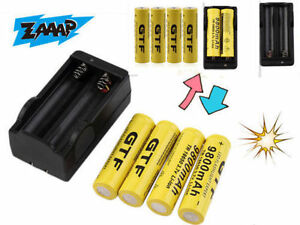 4X-18650-3-7V-9800mAh-Rechargeable-Li-ion-Battery-amp-Charger-For-Flashlight-Lot-AQ