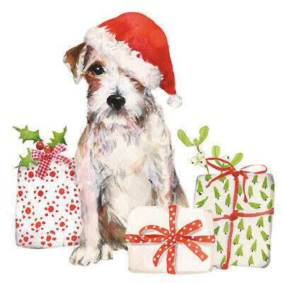 20 Servietten, Serviettentechnik Christmas Pup Hund Ppd, 33x33