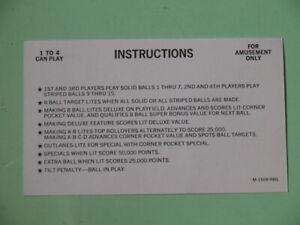 Genuine Bally Eight Ball Deluxe Instruction Card pinball machine