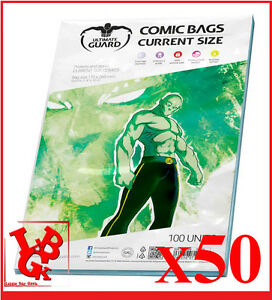 Pochettes-Protection-CURRENT-Size-comics-VO-x-50-Marvel-Ultimate-Guard-NEUF