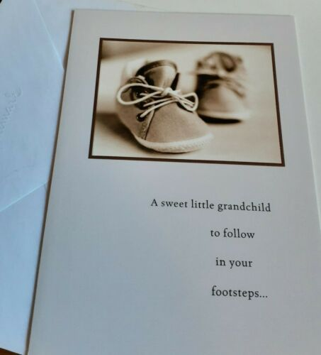 sepia Hallmark Card new baby grandchild sneakers baby shoes cute