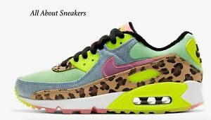 Nike-Air-Max-90-LX-034-ILLUSION-Vert-Noir-Blanc-S-034-Women-039-s-Trainers-Limited-Stock