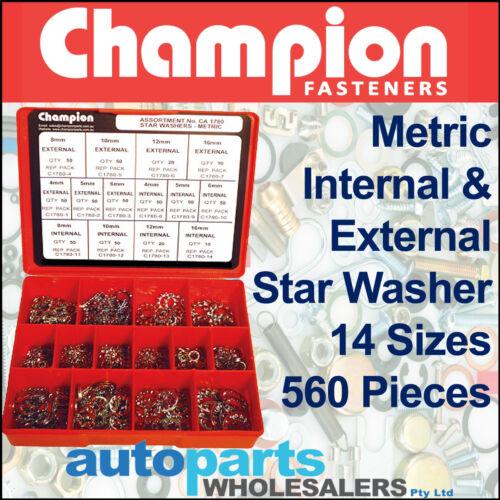 CHAMPION INTERNAL /& EXTERNAL STAR WASHERS METRIC ASSORTMENT KIT 560 Pieces