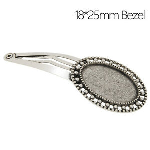 18*25MM Oval Bezel Bobby Hair Pin Clip Barrette Blanks Hairpin Findings 20Pcs